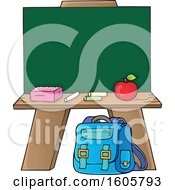 School Chalkboard With Supplies