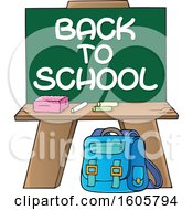 Chalkboard With Back To School Text And Supplies