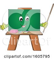 Happy Chalkboard Mascot Holding A Pointer Stick
