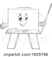 Black And White Happy Chalkboard Mascot Holding A Pointer Stick