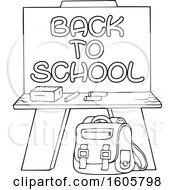 Black And White Chalkboard With Back To School Text And Supplies