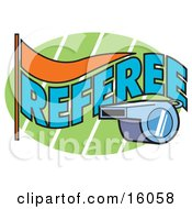 Referees Whistle Clipart Illustration by Andy Nortnik