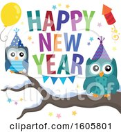 Happy New Year Greeting With Owls