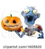 Clipart Of A 3d Blue Zombie Holding A Halloween Jackolantern Pumpkin On A White Background Royalty Free Illustration