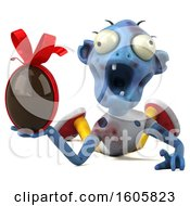 Clipart Of A 3d Blue Zombie Holding A Chocolate Egg On A White Background Royalty Free Illustration