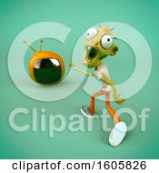 Clipart Of A 3d Zombie Holding A Tv On A Green Background Royalty Free Illustration by Julos