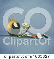 Clipart Of A 3d Zombie Holding A Tv On A Blue Background Royalty Free Illustration by Julos
