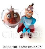3d Buff White Male Yellow And Blue Super Hero Holding A Fish Bowl On A White Background