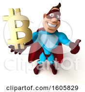 3d Buff White Male Yellow And Blue Super Hero Holding A Bitcoin Symbol On A White Background