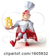 3d White Male Super Chef In A Red And White Costume Holding A Bitcoin Symbol On A White Background