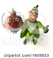 3d Buff White Male Green Super Hero Holding A Fish Bowl On A White Background