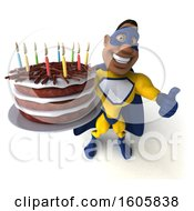 3d Buff Black Male Yellow And Blue Super Hero Holding A Birthday Cake On A White Background