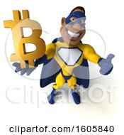 3d Buff Black Male Yellow And Blue Super Hero Holding A Bitcoin Symbol On A White Background