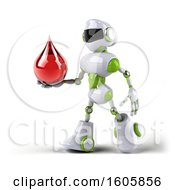 Clipart Of A 3d Green And White Robot Holding A Blood Drop On A White Background Royalty Free Illustration