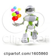 3d Green And White Robot Holding Messages On A White Background