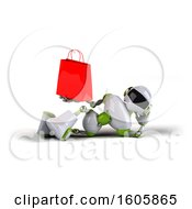 3d Green And White Robot Holding A Shopping Bag On A White Background