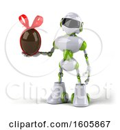 Clipart Of A 3d Green And White Robot Holding A Chocolate Egg On A White Background Royalty Free Illustration