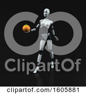 Clipart Of A 3d Feminine Robot Holding An Orange On A Black Background Royalty Free Illustration