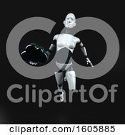 Clipart Of A 3d Feminine Robot Holding A Cloud On A Black Background Royalty Free Illustration
