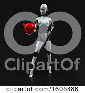 Clipart Of A 3d Feminine Robot Holding A Devil On A Black Background Royalty Free Illustration