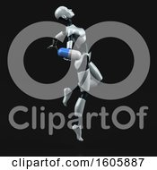 Clipart Of A 3d Feminine Robot Holding A Pill On A Black Background Royalty Free Illustration