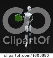 Clipart Of A 3d Feminine Robot Holding A Gas Can On A Black Background Royalty Free Illustration
