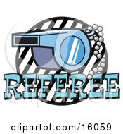 Blue Referee Whistle On A Chain Clipart Picture