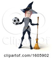 Clipart Of A 3d Sexy Blue Witch Holding A Soccer Ball On A White Background Royalty Free Illustration by Julos