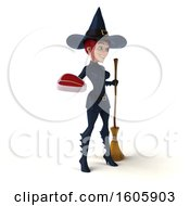 Clipart Of A 3d Sexy Blue Witch Holding A Steak On A White Background Royalty Free Illustration