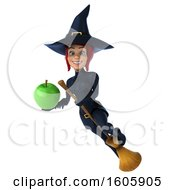Clipart Of A 3d Sexy Blue Witch Holding An Apple On A White Background Royalty Free Illustration by Julos