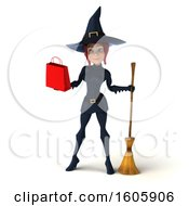 Clipart Of A 3d Sexy Blue Witch Holding A Shopping Bag On A White Background Royalty Free Illustration by Julos