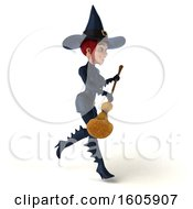 Clipart Of A 3d Sexy Blue Witch Holding A Broom On A White Background Royalty Free Illustration