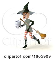 Clipart Of A 3d Sexy Green Witch Holding A Tooth On A White Background Royalty Free Illustration