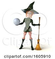 3d Sexy Green Witch Holding A Golf Ball On A White Background