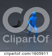 Clipart Of A 3d Man Chained To A Laptop Royalty Free Illustration