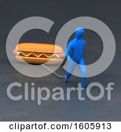 Clipart Of A 3d Man Chained To A Hot Dog Royalty Free Illustration