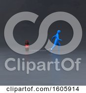 Clipart Of A 3d Man Chained To A Soda Royalty Free Illustration