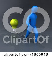 Clipart Of A 3d Man Chained To A Light Bulb Royalty Free Illustration