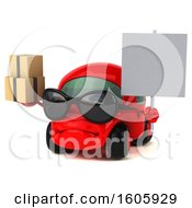 Clipart Of A 3d Red Car Holding Boxes On A White Background Royalty Free Illustration