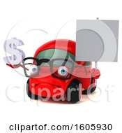 Clipart Of A 3d Red Car Holding A Dollar Sign On A White Background Royalty Free Illustration