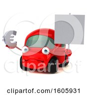 Clipart Of A 3d Red Car Holding A Euro Symbol On A White Background Royalty Free Illustration