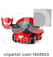 Clipart Of A 3d Red Car Holding A Devil On A White Background Royalty Free Illustration