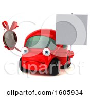 Clipart Of A 3d Red Car Holding A Chocolate Egg On A White Background Royalty Free Illustration