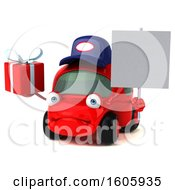 Clipart Of A 3d Red Mechanic Car Holding A Gift On A White Background Royalty Free Illustration