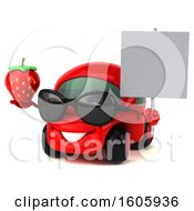 Clipart Of A 3d Red Car Holding A Strawberry On A White Background Royalty Free Illustration