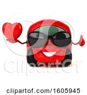 Clipart Of A 3d Red Car Holding A Heart On A White Background Royalty Free Illustration