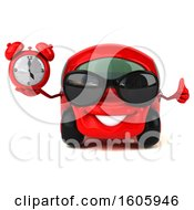 Clipart Of A 3d Red Car Holding An Alarm Clock On A White Background Royalty Free Illustration