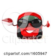 Clipart Of A 3d Red Car Holding A Steak On A White Background Royalty Free Illustration