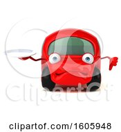 Clipart Of A 3d Red Car Holding A Plate On A White Background Royalty Free Illustration