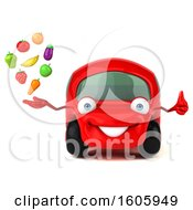 Clipart Of A 3d Red Car Holding Produce On A White Background Royalty Free Illustration